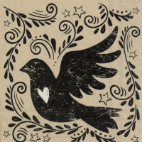 Napkins 25x25 cm - vintage bird
