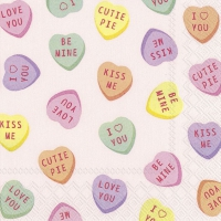 Napkins 25x25 cm - SWEETHEARTS CANDY