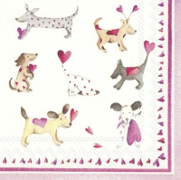 Napkins 25x25 cm - LOVE HEART DOGS