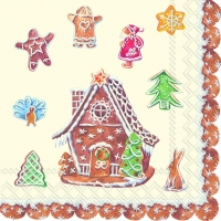 Cocktail napkins GINGERBREAD VILLAGE