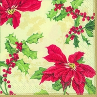 Lunch napkins FLORAL CHRISTMAS cream