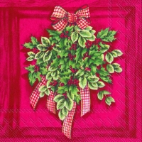 Lunch napkins HOLLY AND IVY red