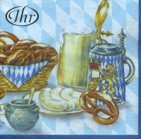 Lunch napkins Bayrische Brotzeit blue