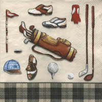 Lunch napkins GOLF CLASSICS cream black