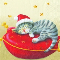 Lunch napkins SANTA CAT cream