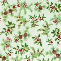Lunch napkins HOLLY BURST cream