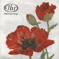 Lunch napkins RED POPPY white