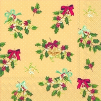 Lunch napkins DECORATIVE HOLLY cream