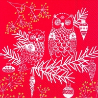 Lunch Servietten OWL ORNAMENT red