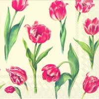 Lunch napkins RED TULIPS cream