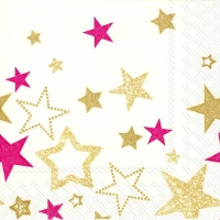 Lunch Servietten SPARKLING STARS cream red