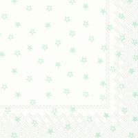Serviettes de table 33x33 cm - LITTLE STARS blanc bleu clair