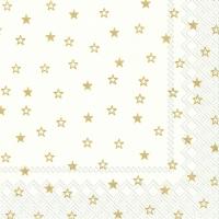 Lunch Servietten LITTLE STARS white gold