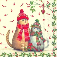 Serviettes de table 33x33 cm - CHATS DE NOËL