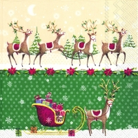 Lunch napkins REINDEER SLEIGH green