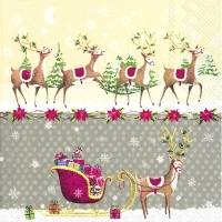 Lunch napkins REINDEER SLEIGH grey