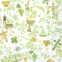 Serviettes lunch SYMBOLS OF CEREMONY wh. green