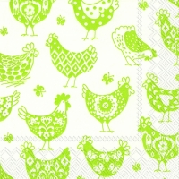 Lunch Servietten PATTERN HENS white green