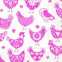 Lunch napkins PATTERN HENS white pink
