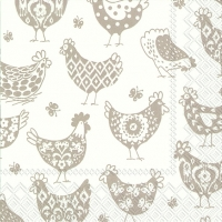 Lunch napkins PATTERN HENS white linen