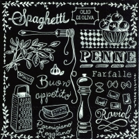 Lunch napkins CUCINA PASTA black