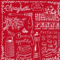 Lunch napkins CUCINA PASTA red
