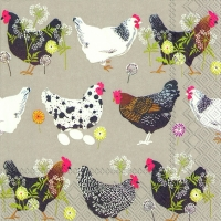 Serviettes lunch SPATTER HENS linen