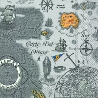 Lunch napkins CARTE DES OCEANS grey