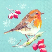 Lunch napkins WINTER ROBIN light blue