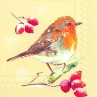 Lunch napkins WINTER ROBIN cream