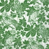 Lunch Servietten OWLS AND BRANCHES green