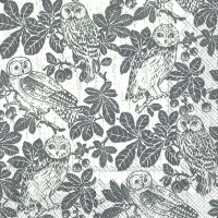 Lunch Servietten OWLS AND BRANCHES grey
