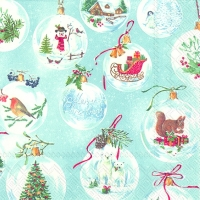 Lunch napkins WINTERLY CHRISTMAS TIME l.blue