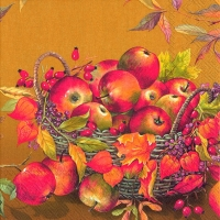 Lunch napkins BASKET OF APPLES ochre