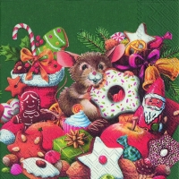 Lunch napkins CHRISTMAS MICE green