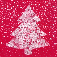 Lunch Servietten CHRISTMAS LACE red