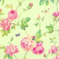 Lunch napkins NEW RAMBLING ROSE green