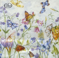 Lunch napkins BUTTERFLIES AND BLOSSOMS white