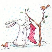 Lunch napkins CHARMING SNOW RABBITS