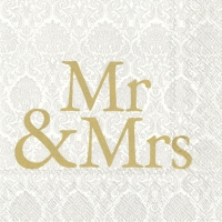 Serviettes lunch MR & MRS gold