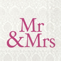 Lunch napkins MR & MRS pink