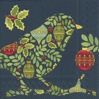 Serviettes de table 33x33 cm - FESTIVE BIRD bleu