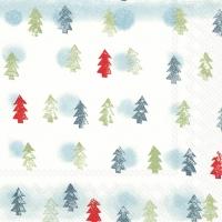 Napkins 33x33 cm - WINTER TREES light blue