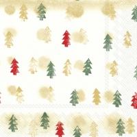 Napkins 33x33 cm - WINTER TREES gold green