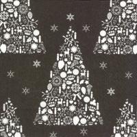Napkins 33x33 cm - SWEET MERRY CHRISTMAS black