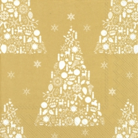 Салфетки 33x33 см - SWEET MERRY CHRISTMAS gold wh.