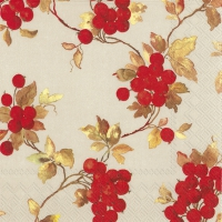 Lunch napkins RED BERRIES linen