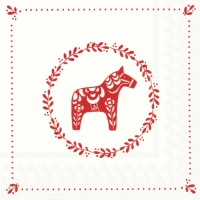 Napkins 33x33 cm - SWEET LITTLE HORSE white red