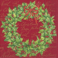 Servilletas Lunch HOLLY WREATH red