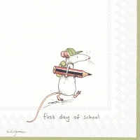 Napkins 33x33 cm - FIRST DAY OF SCHOOL white
